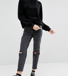 Черные джинсы в винтажном стиле с рваными коленями ASOS PETITE Farleigh - Черный