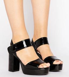Черные сандалии на платформе для широкой стопы Lost Ink Wide Fit - Черный