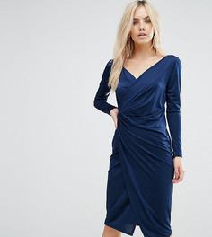 Платье-футляр с запахом и длинными рукавами ASOS PETITE - Синий