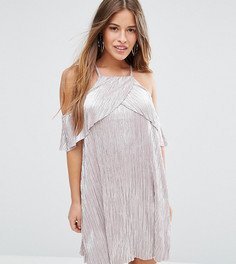 Плиссированное платье с эффектом металлик ASOS PETITE - Розовый