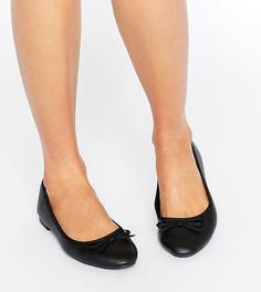 Балетки для широкой стопы из искусственной кожи New Look - Черный