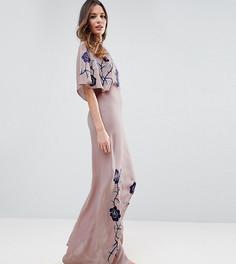 Платье макси с вышивкой ASOS TALL - Розовый