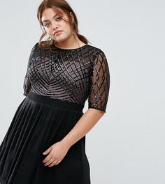 Короткое приталенное платье с пайетками Little Mistress Plus - Черный