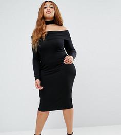 Облегающее платье миди с длинными рукавами ASOS CURVE - Черный