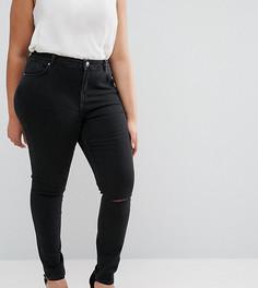 Черные рваные джинсы скинни с классической талией и рваными коленями ASOS CURVE Lisbon - Черный