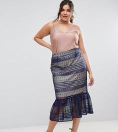 Кружевная юбка-карандаш с баской по краю ASOS CURVE - Темно-синий