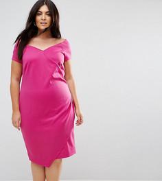 Платье-футляр с широким вырезом и запахом ASOS CURVE - Розовый