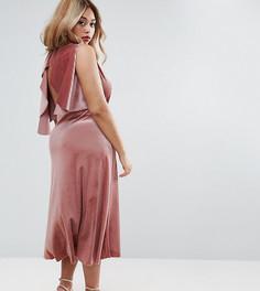 Бархатное платье миди с открытой спиной и отделкой металлик ASOS CURVE - Красный