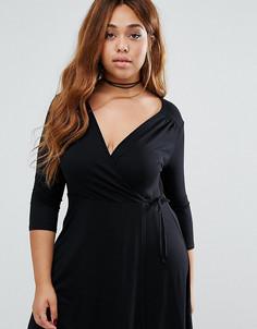 Короткое приталенное платье с запахом и рукавами 3/4 ASOS CURVE - Черный