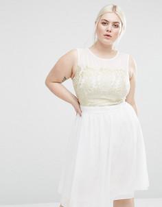 Короткое приталенное платье с кружевной вставкой Lovedrobe Plus - Кремовый
