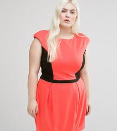 Платье с контрастной вставкой Koko Plus - Розовый