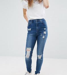 Зауженные джинсы с рваной отделкой Waven Petite Anika - Синий