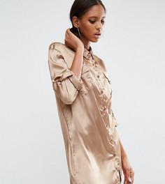 Свободное платье-рубашка с карманом в стиле пэтчворк Daisy Street Tall - Зеленый