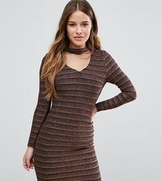 Облегающее платье с эффектом металлик New Look Petite - Черный