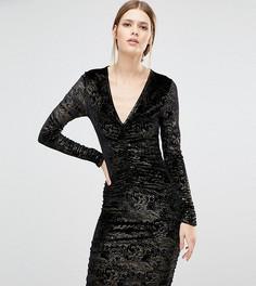 Бархатное облегающее платье с блестящей отделкой New Look Tall - Черный