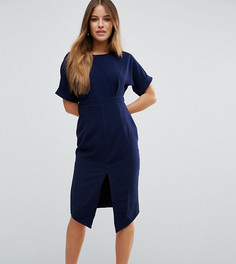 Строгое тканое платье с V-образным вырезом на спине и разрезом ASOS PETITE - Темно-синий