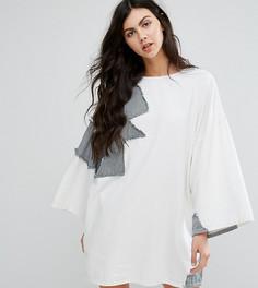 Джинсовое платье в стиле пэтчворк Waven Tall - Белый