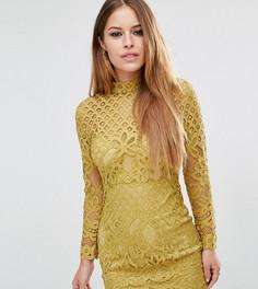 Кружевное платье мини с высокой горловиной Missguided Petite - Желтый