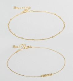Набор из 2 браслетов на щиколотку с подвесками ASOS CURVE - Золотой