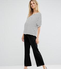 Укороченные широкие брюки плиссе для беременных ASOS Maternity - Черный