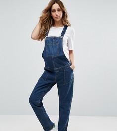 Темно-выбеленный синий джинсовый комбинезон для беременных ASOS MATERNITY - Синий