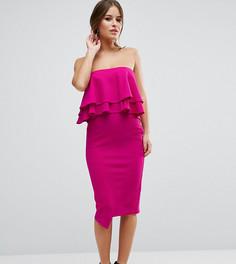 Фактурное платье-футляр с рюшами ASOS PETITE - Фиолетовый