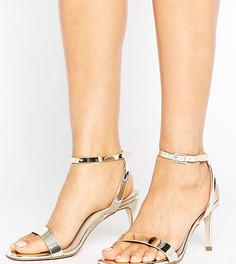 Босоножки на каблуке для широкой стопы ASOS HIDEAWAY - Золотой