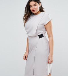Платье-футляр с драпированным передом и резинками ASOS CURVE - Серый