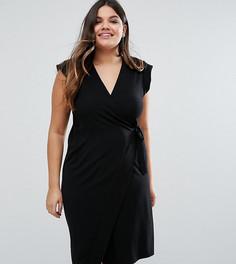 Платье-футляр с запахом ASOS CURVE - Черный