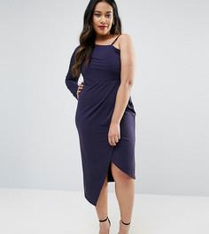 Асимметричное платье миди из крепа с запахом ASOS CURVE - Темно-синий