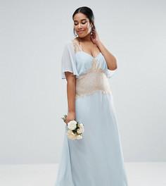 Платье макси с контрастной кружевной вставкой ASOS CURVE WEDDING - Синий