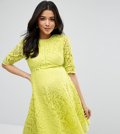 Короткое приталенное платье из кружева для беременных ASOS Maternity - Желтый