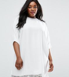 Цельнокройное платье с кружевной отделкой по краю ASOS CURVE - Белый