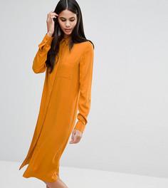 Платье-рубашка миди в стиле casual ASOS TALL - Оранжевый