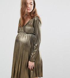 Платье для беременных с длинными рукавами и запахом Bluebelle Maternity - Золотой