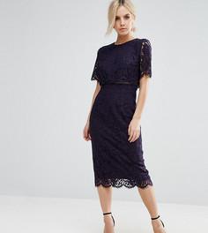 Кружевное платье‑футляр миди с укороченным топом ASOS PETITE - Темно-синий