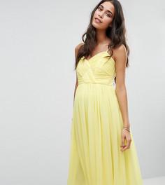 Платье миди с драпировкой для беременных ASOS Maternity WEDDING - Желтый