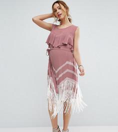 Платье с бахромой по краю ASOS Maternity - Розовый