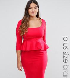 Платье-футляр с баской Goddiva Plus - Красный