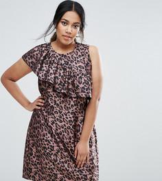 Платье мини с оборкой и звериным принтом ASOS CURVE - Мульти