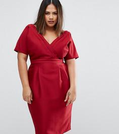 Платье с запахом спереди ASOS CURVE - Красный
