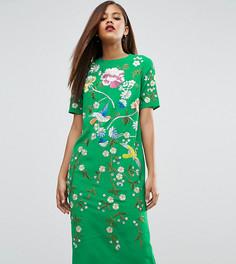 Цельнокройное платье с вышивкой ASOS TALL - Мульти