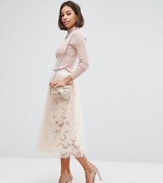 Кружевная юбка для выпускного с тюлевой отделкой ASOS PETITE - Розовый