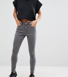 Серые джинсы скинни с завышенной талией ASOS PETITE Ridley - Серый