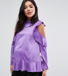 Атласный топ с открытыми плечами и оборками для беременных ASOS Maternity - Фиолетовый