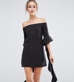 Платье мини с открытыми плечами и рукавами рюшами Dark Pink - Черный