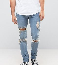 Рваные джинсы скинни с молниями Liquor N Poker - Синий