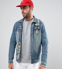 Рваная выбеленная куртка Liquor N Poker - Синий