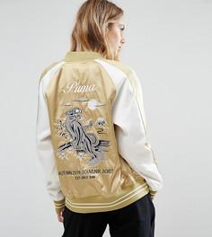 Атласная сувенирная куртка цвета хаки Puma - Зеленый