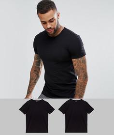 2 черные футболки узкого кроя с круглым вырезом BOSS Black By Hugo Boss - Черный